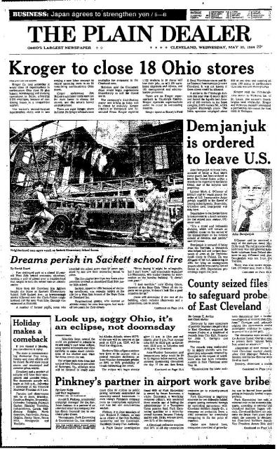 May 1984 Plain Dealer Front Page of Sackett Elementary School Burning.
